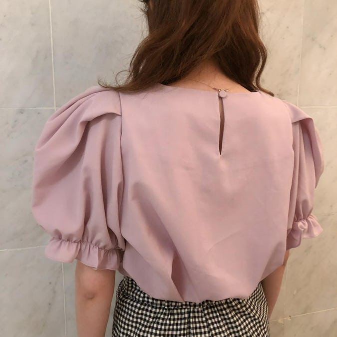 puff pink blouse