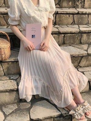 unbal chiffon skirt