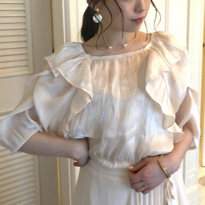 Shiny nuance frill blouse-0