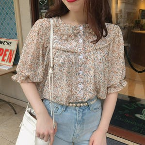 orange flower blouse
