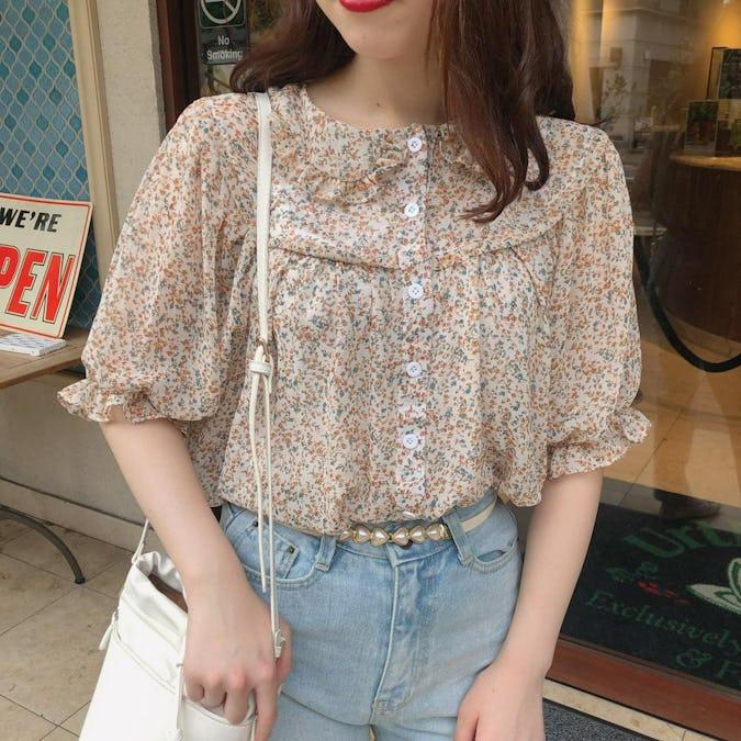 orange flower blouse-0