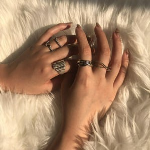 cross ring set (silver)