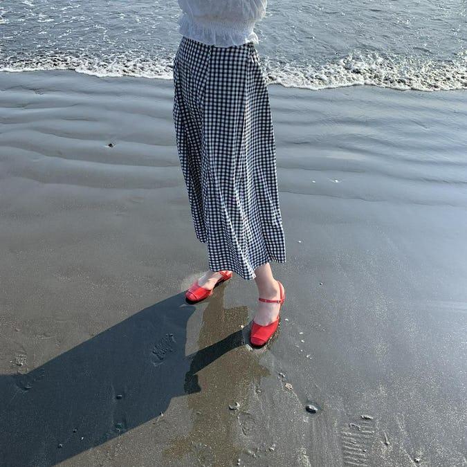 gingham check long skirt-0