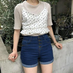 high waist basic short pants