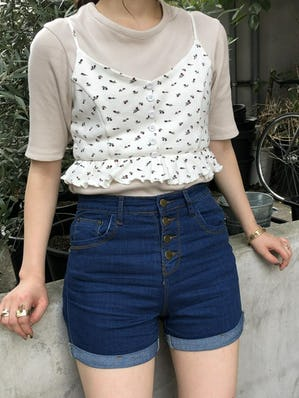 high waist basic short pants