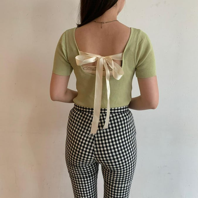 back ribbon knit T