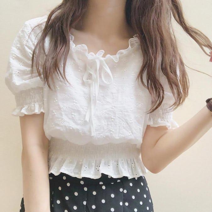 cotton rece shirring blouse-0