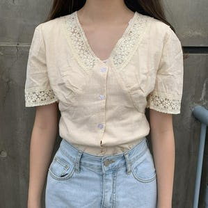 v lace blouse