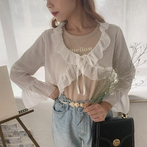 ribbon see-throught blouse