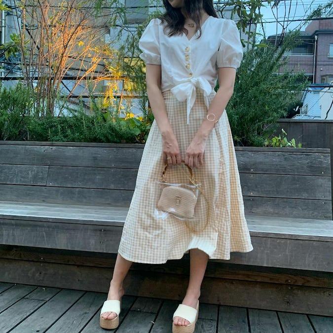 gingham check long skirt