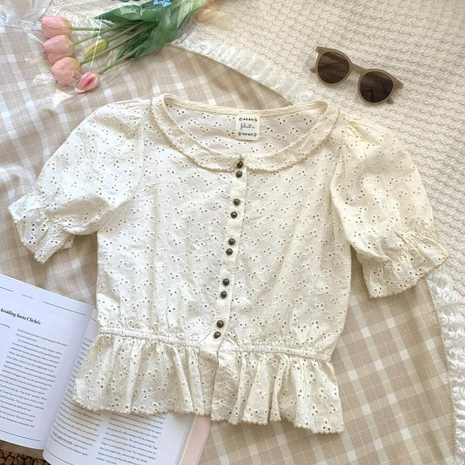 【felicità】felicita bicolor flower cotton blouse-0