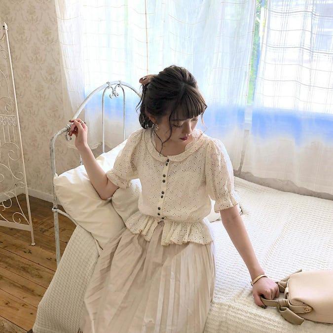 【felicità】felicita bicolor flower cotton blouse