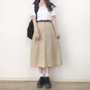 waist button flare skirt