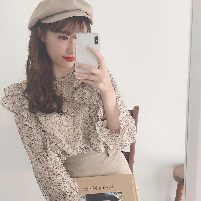 flower waist ribbon blouse-0