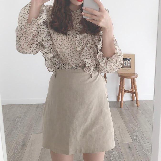 linen mini skirt-0