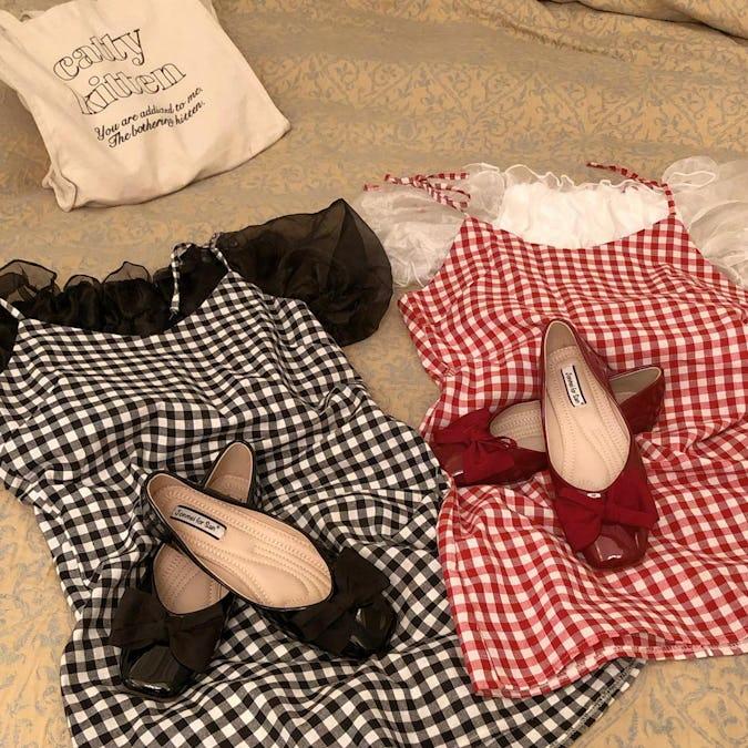 square ribbon ballet shoes