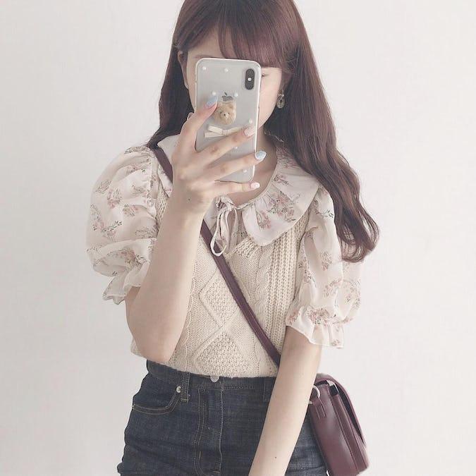 ribbon flower blouse
