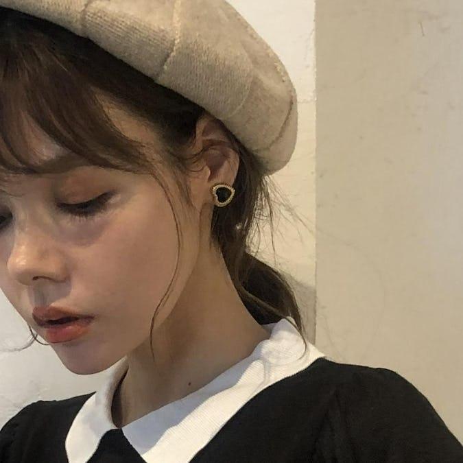 heart cat earring