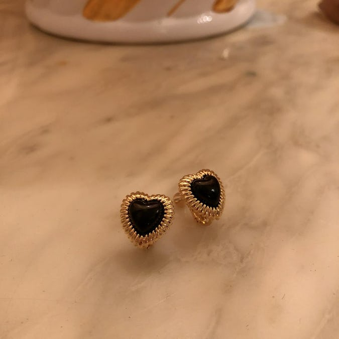 heart cat earring-0