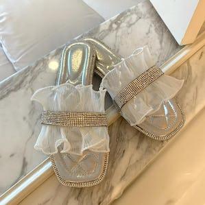 stone frill sandal
