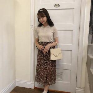 brown dot flare skirt