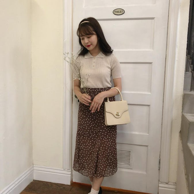 brown dot flare skirt-0