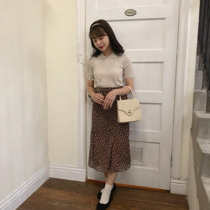 brown dot flare skirt