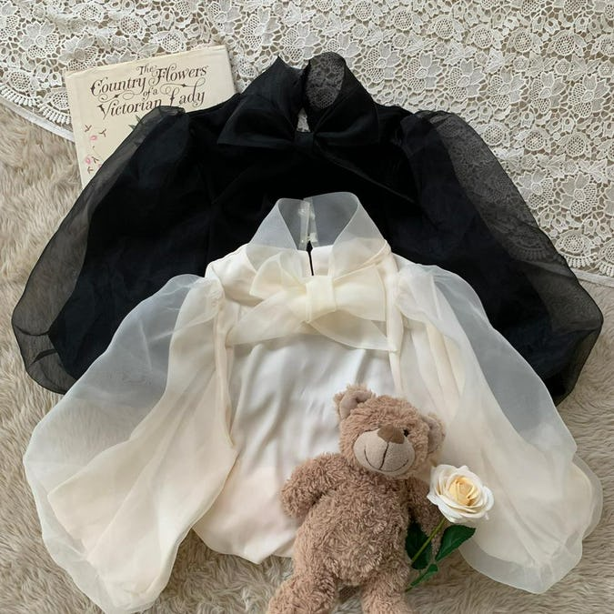 ribbon tulle puff bl-0