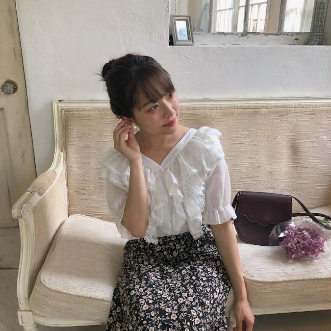 fril fril v neck blouse