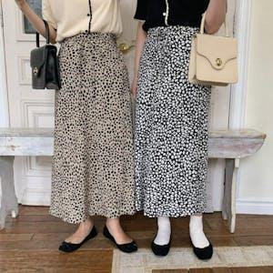 リボンレオパードスカート