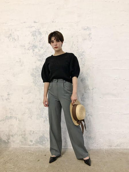 simple high waist pantsの画像1枚目