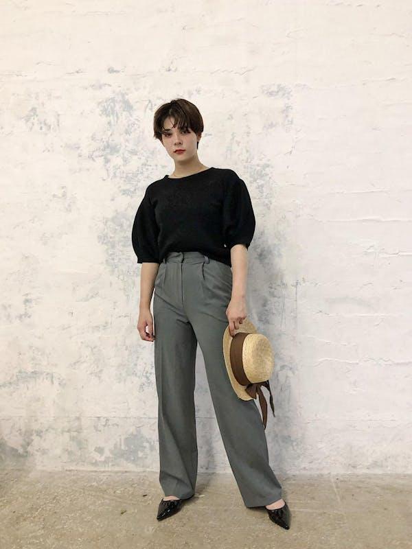 simple high waist pantsの画像1枚目