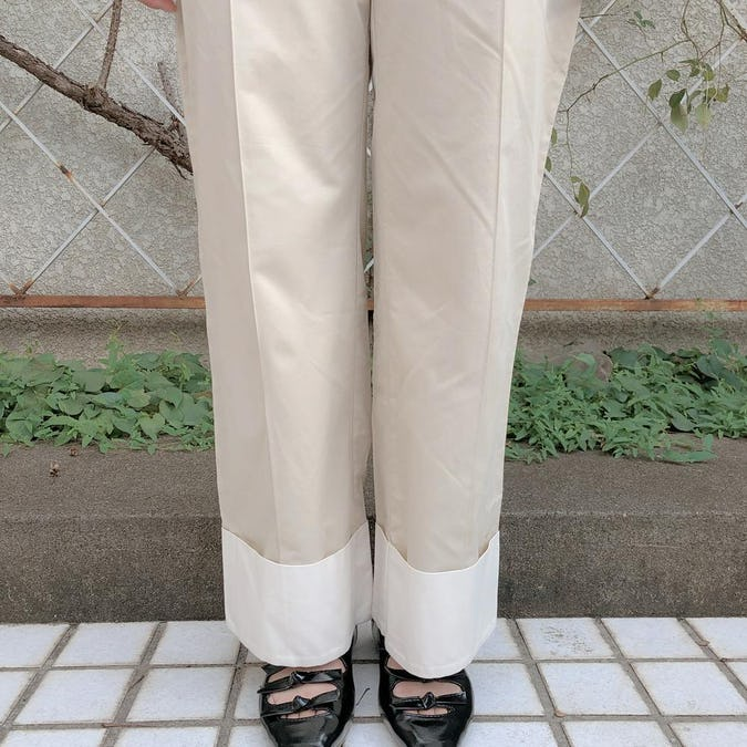 bi-color straight pants