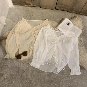 ribbon chiffon blouse