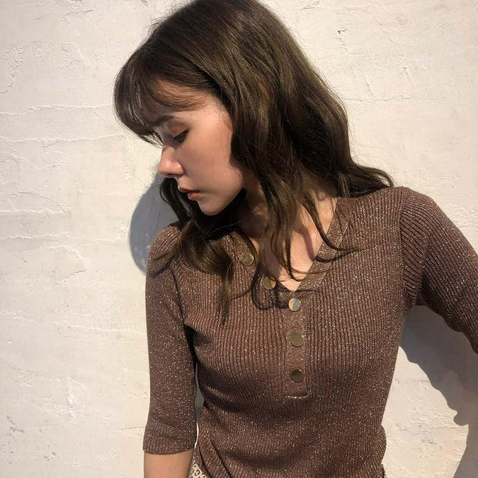 kirakira button knit