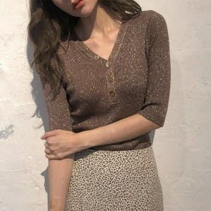 kirakira button knit