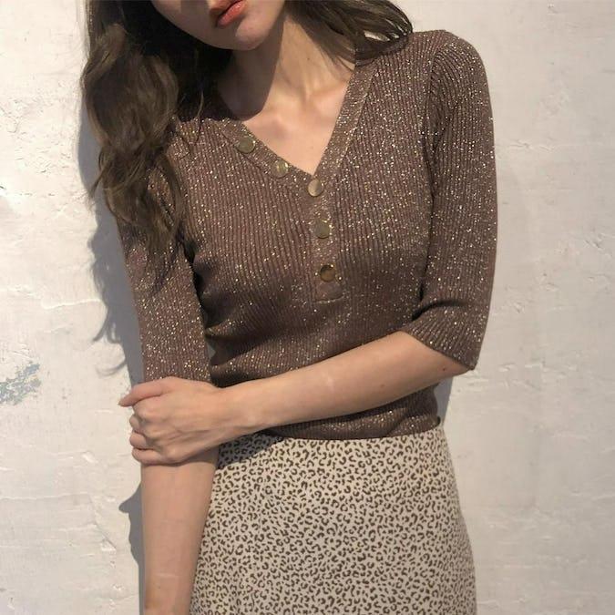 kirakira button knit-0