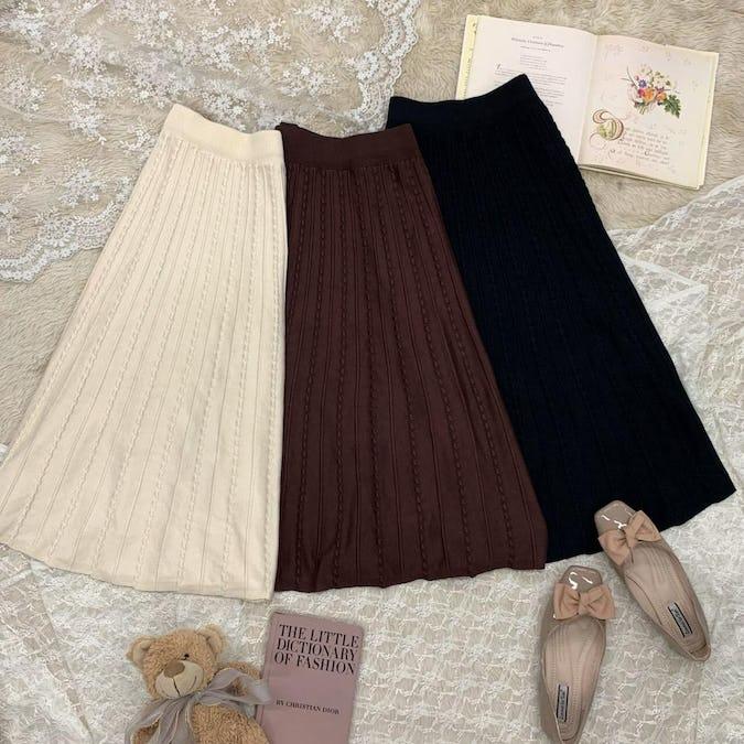 flare knit skirt-0
