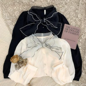 ribbon scarf long sleeve BL