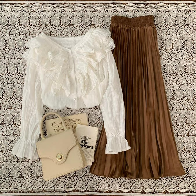 shine pleats skirt