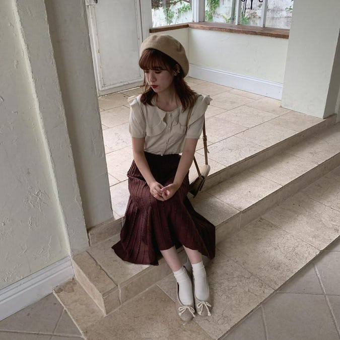 flare knit skirt