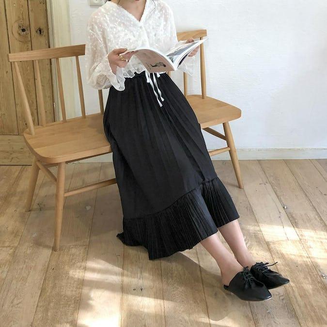 irregularhem pleats skirt-0