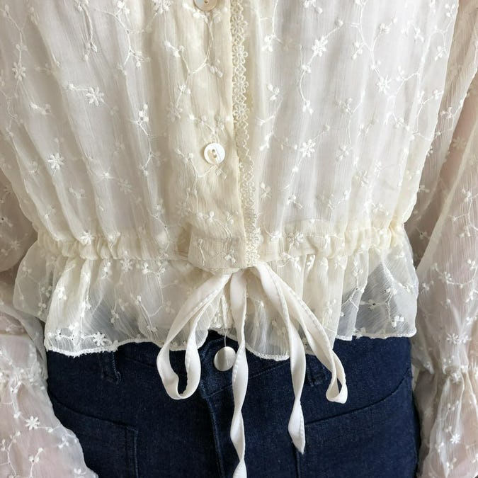 waist ribbon flower see-through blouse