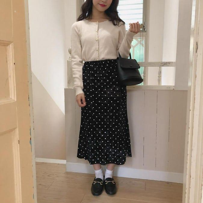 【10/14~順次発送】black dot velvet sk-0