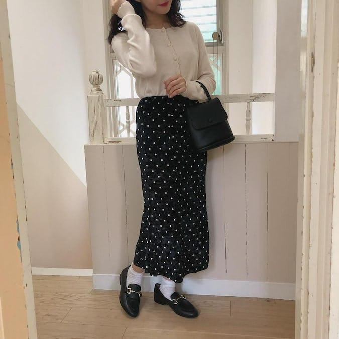 【10/14~順次発送】black dot velvet sk