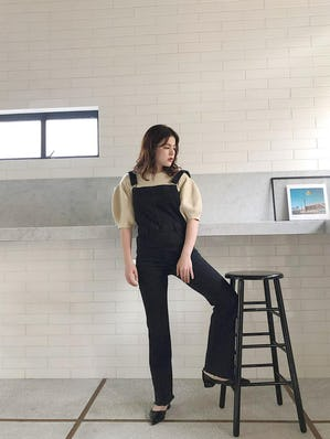black stretch overalls