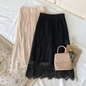2way lace knit sk