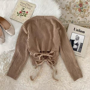 back ribbon cardigan