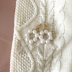 pearl clear heart earring