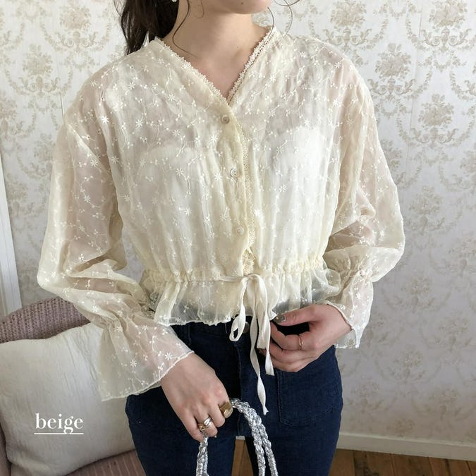 waist ribbon flower see-through blouse-0